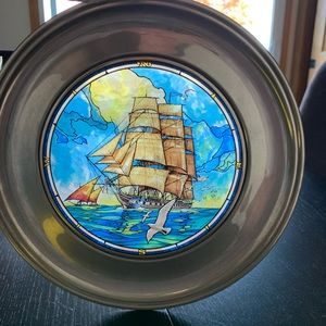 Vtg Old Ironsides Pewter Stain Glass Plate 1st ed.